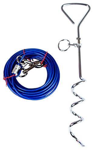- Dog Stake with Tie Out Cable, Dog Stake Yard for Small Medium or Large Dogs Playing by Pustor,16