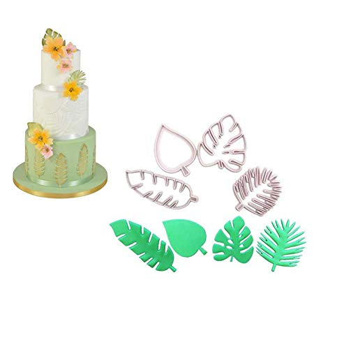 4Pcs Tropical Leaf Molds - Hawaiian Palm Leaves Cookie Cutter Set for Gum Paste, Sugarcraft Candy, Luau Cake Decorating ()