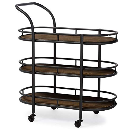 Williston Forge Distressed Ash Veneer Oval Bar Cart with Antiqued Black Finish + Free Basic Design Concepts Expert -