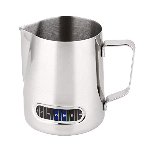 Upgrade SUS304 Stainless Steel Polished Milk Frothing Pitcher with Thermometer,HomeYoo Measuring Cup Temp Control Jug for Coffee, Cappuccino,Espresso,Latte Art (600ml/20 fl.oz) - Thermometer Steel Stainless Milk Frothing