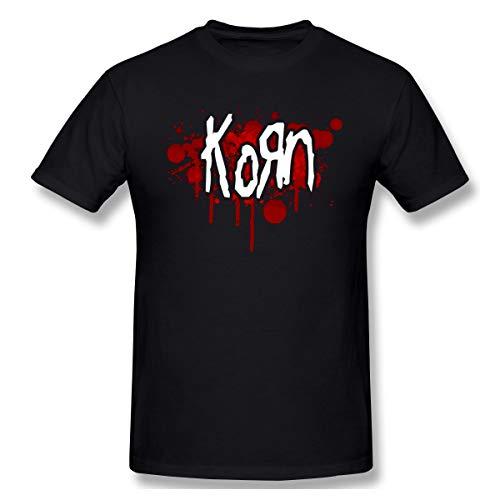 BXNOOD Mens Fashion Korn Logo T Shirts 3XL Black (Printed Korn T-shirts)