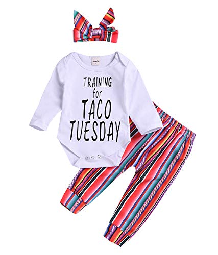 (Newborn Infant Baby Boy Girl Outfits Long Sleeve Letter Print Romper +Rainbow Striped Pants + Headband Clothes Set (White, 3-6 Months))