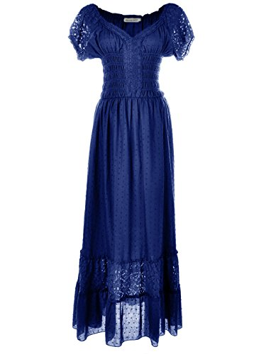 Anna-Kaci Renaissance Peasant Maiden Boho Inspired Cap Sleeve Lace Trim Dress, Royal Blue, Medium