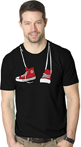 Crazy Dog T-shirts Shoes around Neck T-Shirt Funny Vintage Sneaker Shoelace Classic Movie Tee Black 3XL (Vintage Shoes Sneakers)