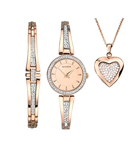 (Sekonda Secret Rose Christmas Set Ladies Watch and Bracelet and Heart Locket Gift Set)
