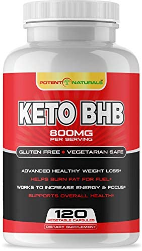 Potent Naturals Keto Pills – 120 Vegetable Capsules – BHB Salts Weight Loss Pills for Women and Men, Fat Burner Supplement – Advanced Weight Loss 800mg BHB Exogenous Ketones