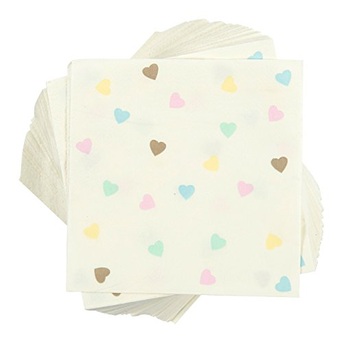 100-Pack Cocktail Napkins - Disposable Paper Party Napkins for Valentines Day, Baby Shower and Bridal Shower Theme - Soft and Absorbent - 10 x 10 Inches (Cocktail Party Napkins)