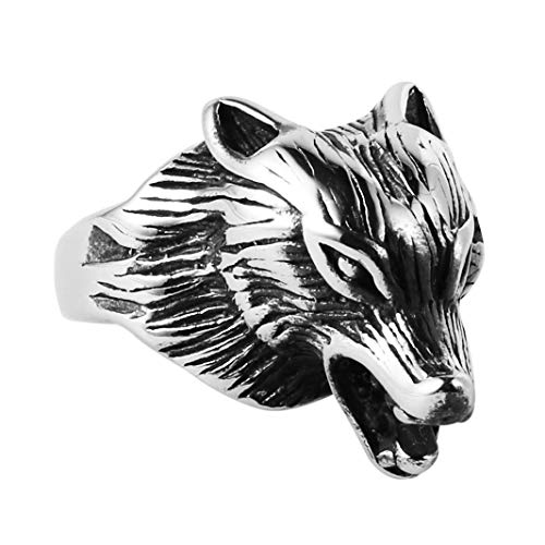 HZMAN Mens Vintage Stainless Steel Roaring Wolf Werewolf Head Mens Ring Silver Black (9)