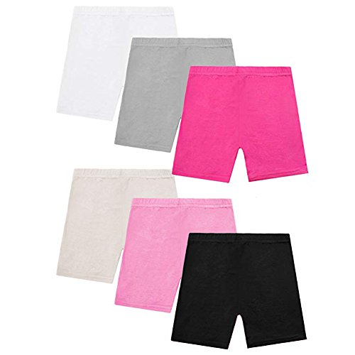 alia-Asia Trad 6 Pack Dance Shorts Girls Bike Short Breathable and Safety 6 Color (4T/5T)