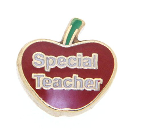 Special Teacher Apple Charm (Special Teacher in Apple Floating Charm for Heart Lockets)