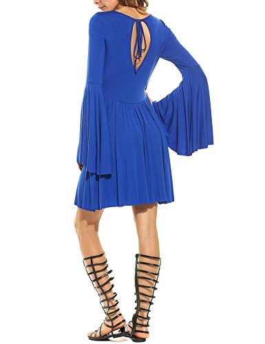 Angvns V Neck Sleeve Backless Pleated