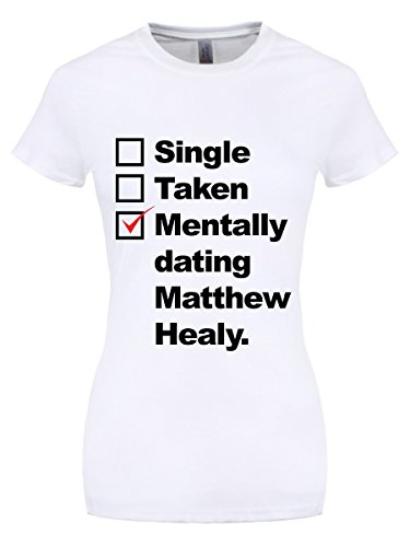 Damen T-Shirt Mentally Dating Matthew Healey weiß