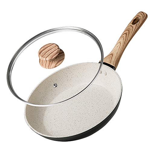 MICHELANGELO 10 Inch Frying Pan with Lid, Nonstick Frying Pan with Bakelite Handle, 10 Inch Frying Pan Non Stick, White…