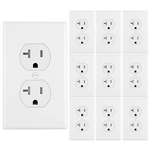 [10 Pack] BESTTEN 20A Duplex Wall Outlet, Tamper Resistant Electrical Wall Receptacle, Grounding, 20A/125V/1875W, Standard Wall Plates Included, Residential and Commercial, UL Certified, White