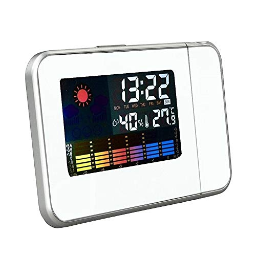 (Bseka Digital Weather Projection Alarm Clock, LED Color Display Screen Wireless Sensor Indoor Outdoor Thermometer, Humidity Monitor, Weather Forecast Station, Time & Date Monitor (White))