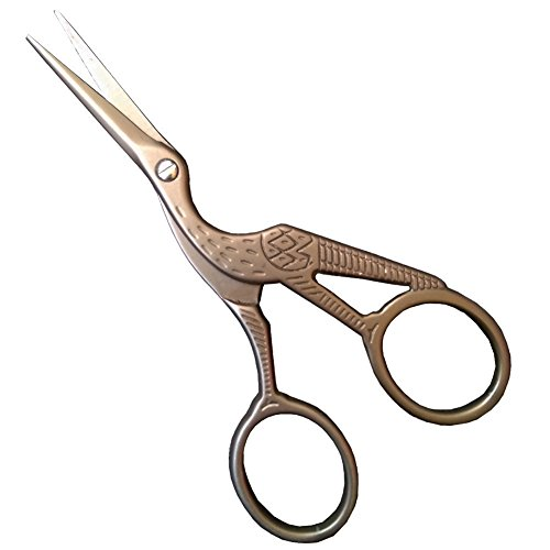 BROSHAN Bronze Crane Small Sharp Stainless Steel Sewing Scissors (Large Image)