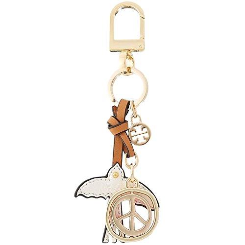 Tory Burch Keychain Peace Keyfob Leather Gold TB - Ring Tory Burch