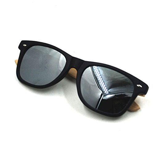 Plastic Bamboo Arms Sunglasses Yellow Polarized Lenses Black Men Women Sunglasses (Black, - Sunglasses Review Proof