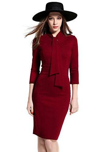 Women's Retro 40s 50s Bowknot Collar 3/4 Sleeve Bodycon Casual Midi Dress