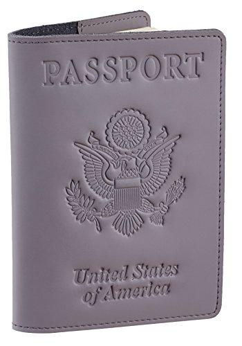 SimpacX Genuine Leather Passport Cover Holder RFID Blocking for Men & Women Travel Wallet (vintage grey)
