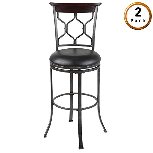 Leggett Platt Tallahassee Swivel Seat Bar Stool with Heritage Silver Finished Metal Frame and Black Faux Leather Upholstery, 30-Inch Seat Height, 2-Pack