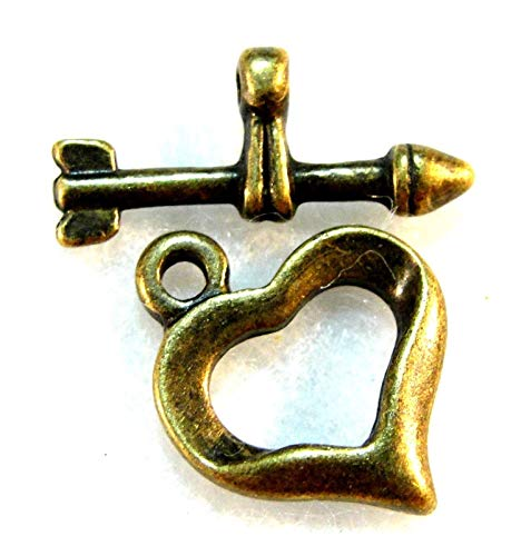 10Sets Tibetan Antique Bronze Heart & Arrow Toggle Clasps Hooks Findings C360 Crafting Key Chain Bracelet Necklace Jewelry Accessories Pendants