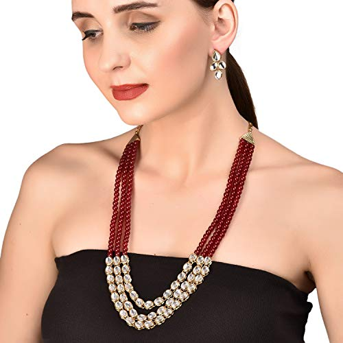 Touchstone New Contemporary Kundan Collection Indian Bollywood Majestic Mughal Craftsmanship Kundan Look Identical Red Onyx Triple Line Strings Long Wedding Designer Jewelry Necklace Set in Antique