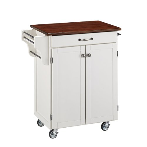 Home Styles Cuisine Cart, White Finish with Cherry Top