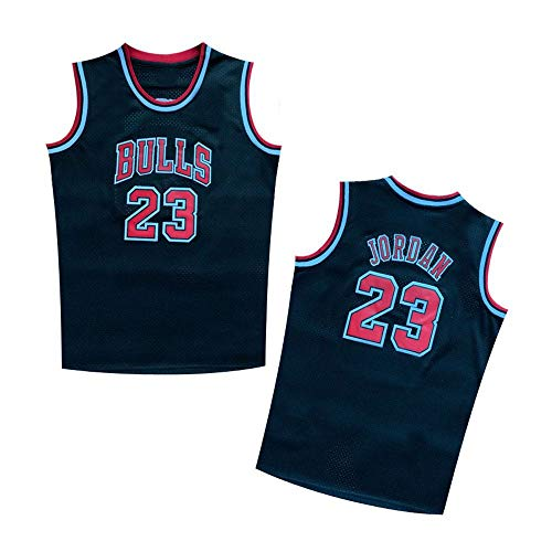(QilAihai Legend Youth/Kids #23 Basketball Jersey Retro Athletics Jersey Red White Black (Black, M))