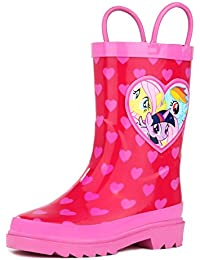 Kids Girls' My Little Pony Rainbow Character Printed Waterproof Easy-On Rubber Rain Boots (Toddler/Little Kids)