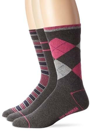 Ben Sherman Men's 3 Pack Albert Pattern Socks, Magenta, 9 -12