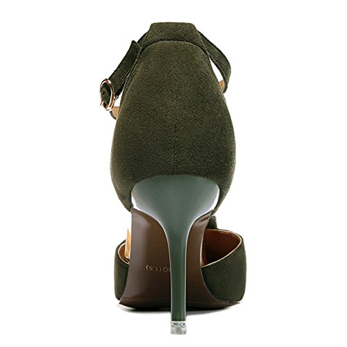 Pumps Armygreen Toe Casual High Pointy Heels Strap Chic Platform Buckle Edge Without Shoes Women's qAt6Ofq