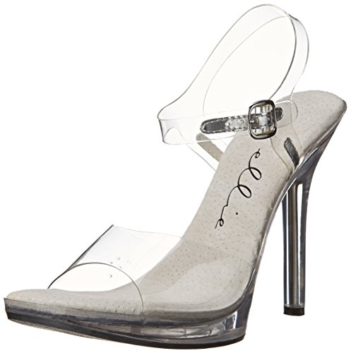 Ellie Shoes Metallic Heels - Ellie Shoes Women's 502 Brook Clear Dress Sandal, Clear, 8 M US