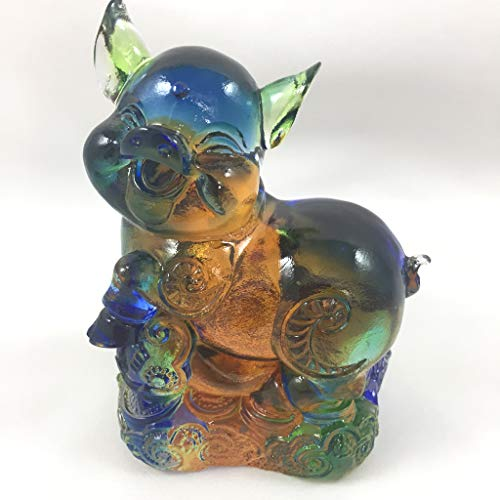 Zodiac Collection - Pig, Colored Glaze Glass (Liuli Crystal Glass) (Colored Glaze Crystals)