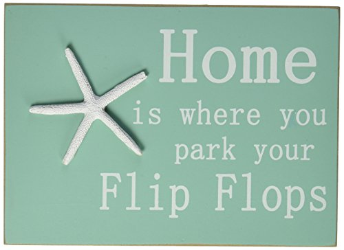 Home Is Where You Park Your Flip Flops Block Sign with Resin Starfish (Flip Flop Home Decor)