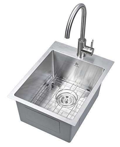 - Starstar 15 x 20 inch Drop-in Topmount 304 Stainless Steel Single Bowl Bar/Kitchen/Laundry/Yard/Office Sink (With Grid)