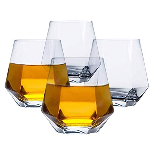 Tebery Glassware 4 Pack Diamond Whiskey Glasses Lightweight Luxury 11oz Geometric Wine Glass for Water, Cocktails…