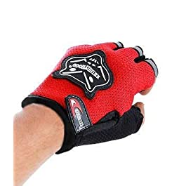 PINZU Half Knighthood Finger Riding Gloves for All Bikes and Scooty Gloves – Red