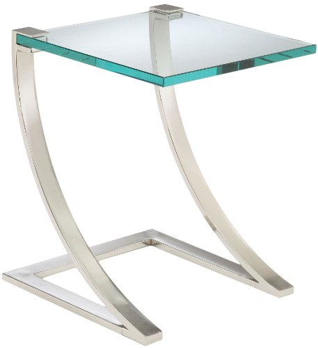Bailey Street Living Room Accent Table - Sterling 6040947 Uptown Traditional Metal Frame End Table with Glass Top, 20-Inch, Nickel