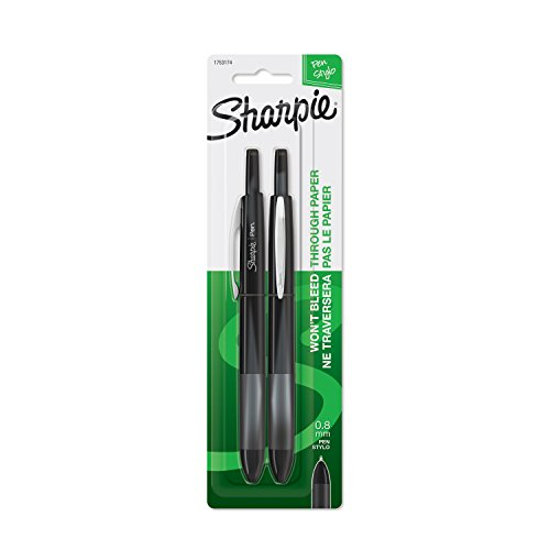 Sharpie Retractable Pens, Fine Point (0.8mm), Black, 2 Count