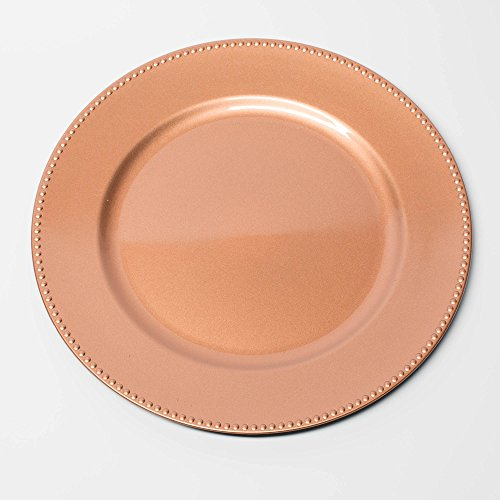 "Richland Charger Plate Round Beaded 13"" Rose Gold Set of 12"