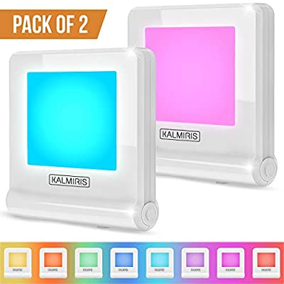 LED Night Lights with Dusk to Dawn Sensor - Pack of 2 Plug in Night Light - Color Changing Ultra Slim & Compact Energy Efficient Led Lights Prime