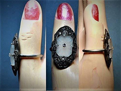 1 Antique Camphor Glass RING Pot Metal Marcasite Ring size 5 1/2. 1930 Pot Metal Marcasite Ring with Vintage Starburst Camphor Glass OOAK RING