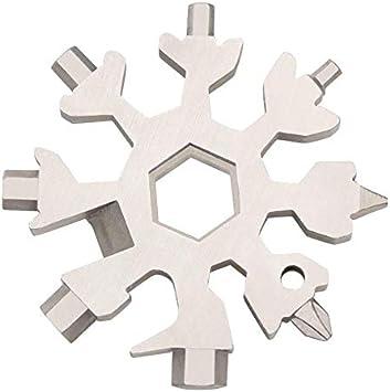 Multi Attrezzo in Acciaio Portatile,COTEY 2PCS 18-in-1 Multi-Tool Resistente e Antiruggine Snowflake Multi Attrezzo per Cucina Strumenti Fai-Da-Te,Colore Casuale Campeggio Ciclismo Chiave Inglese