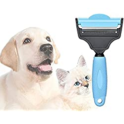 2-in-1 Dual Sides Pet Grooming Combs,Brushes,Deshedding Tool,Undercoat Rake,Trimming Tool for Haired Dogs/Cats/Horses/Rabbit/Ferret/Animals-Blue-M