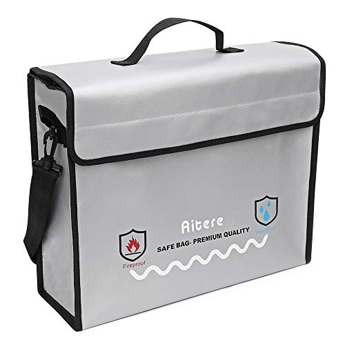 Aitere 2500℉ Fireproof Bag (15'x12'x5'), 2019 New-Version Fireproof Document Bags - Fireproof Safe Non Itchy, Strong Three Layer Heat Protection for Cash, Valuables, Passport & Jewelry