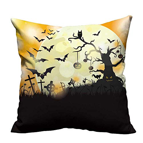 YouXianHome Decorative Couch Pillow Cases Halloween Flyer Design with Big Moon Eps Vector File. Easy to Wash(Double-Sided Printing) 21.5x21.5 -