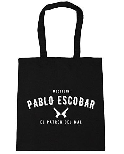 HippoWarehouse Pablo Escobar el patron del mal Tote Compras Bolsa de playa 42cm x38cm, 10litros negro