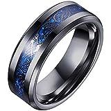 خاتم اسود بنقشة تنين السيلتك مصنوع من الياف الكربون 8 ملم - للرجال، مرصع بحواف مشطوفة، خاتم زفاف