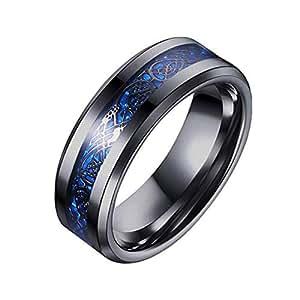 8mm Black Tungsten Carbide Rings for Men Women Wedding Bands Black Celtic Dragon blue Carbon Fiber Inlay Comfort Fit